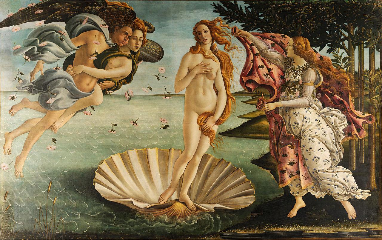 Sandro Botticelli, The Birth of Venus (1486), Uffizi Gallery, Florence, tempera on canvas, 172.5 x 278.9cm. Photo: Public Domain.