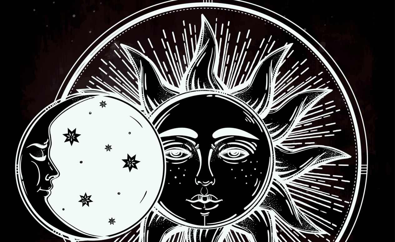 Vintage hand drawn sun eclipse with sleeping moon next to it.